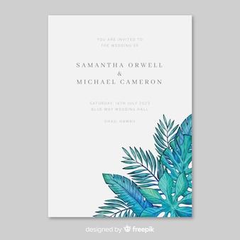 Modello dell'invito di nozze delle foglie tropicali dell'acquerello