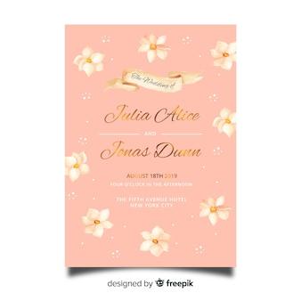 Modello dell'invito di nozze fiori dell'acquerello