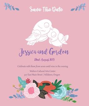 Modello dell'invito di nozze rosa floreale dell'uccello di amore