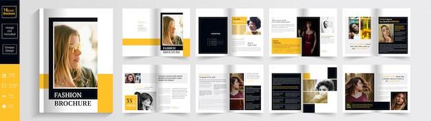 Modello dell'opuscolo di pagine di moda giallo e nero