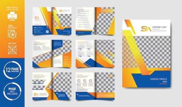 Modello dell'opuscolo di profilo dell'azienda di pagine