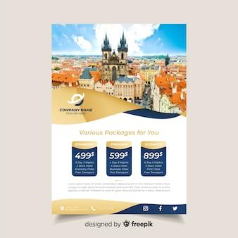 Modello dell'opuscolo di viaggio con foto