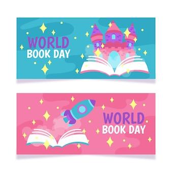 Modello della bandiera con la giornata mondiale del libro