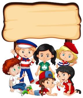 Modello della bandiera con ragazze e ragazzi