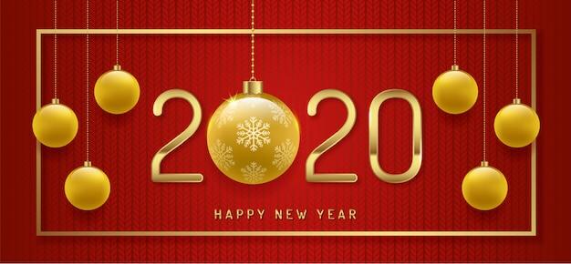 Modello della bandiera di buon natale e felice anno nuovo 2020