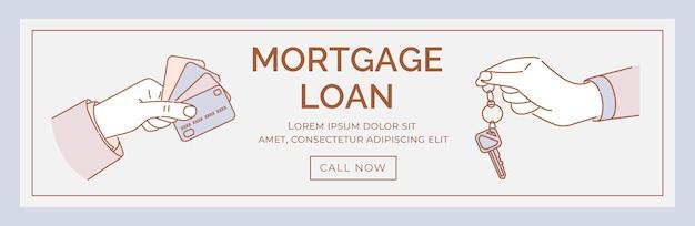 Modello della bandiera di prestito ipotecario. mani che tengono l'illustrazione del fumetto delle carte di credito e delle chiavi.