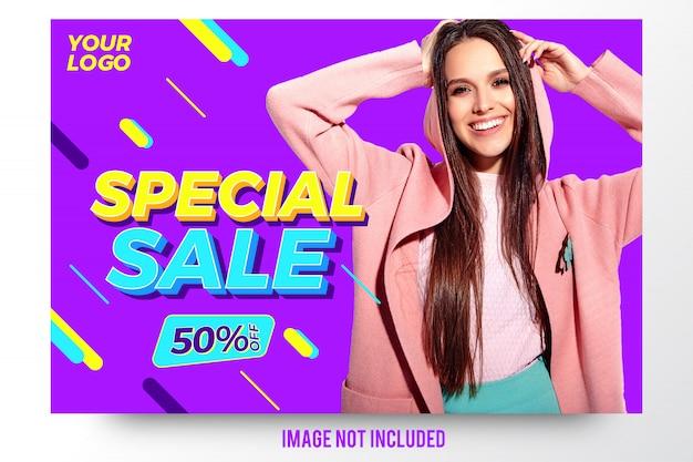 Modello della bandiera di sconto vendita di moda speciale