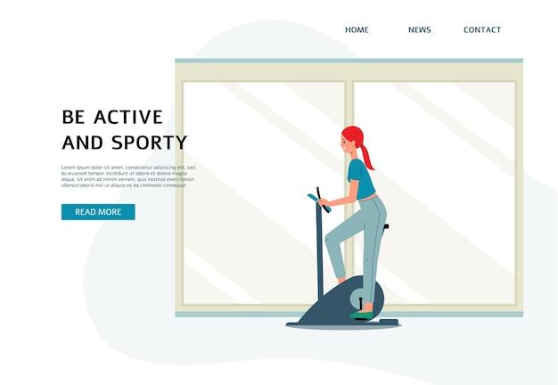 Modello della bandiera di stile di vita attivo e sportivo con formazione del personaggio dei cartoni animati della donna, illustrazione. pagina di destinazione pubblicitaria del fitness club.