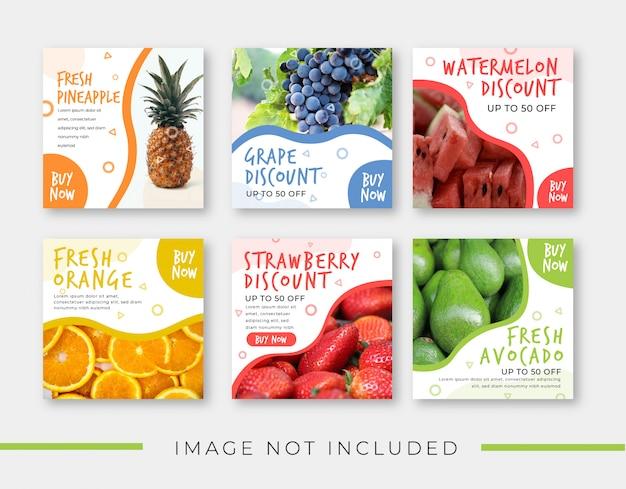 Modello della bandiera di vendita di frutta per post instagram