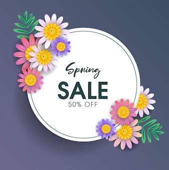 Modello della bandiera di vendita di primavera con fiori colorati