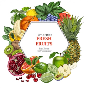 Modello della bandiera esagonale di frutta