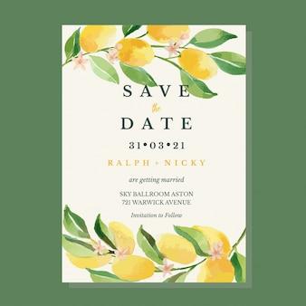 Modello della carta dell'invito del limone dell'agrume dei kumquat dell'acquerello