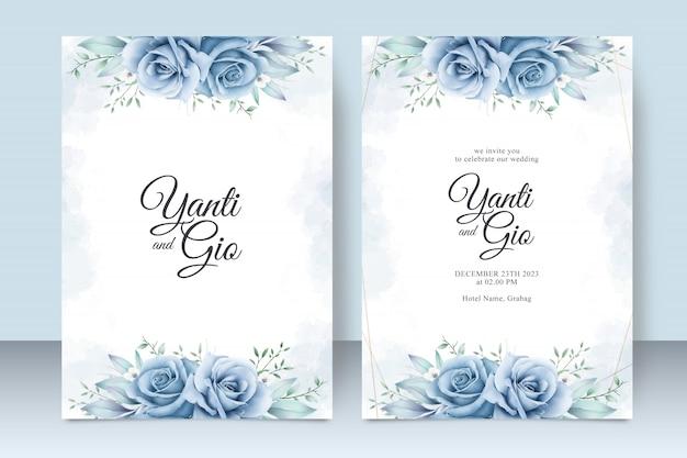 Modello della carta dell'invito di nozze con bello acquerello floreale
