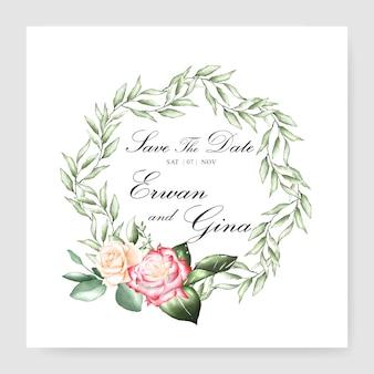 Modello della carta dell'invito di nozze con l'acquerello della struttura della corona floreale