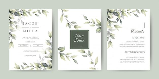 Modello della carta dell'invito di nozze con la decorazione delle foglie verdi