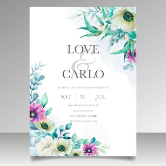Modello della carta dell'invito di nozze della corona floreale dell'acquerello bello