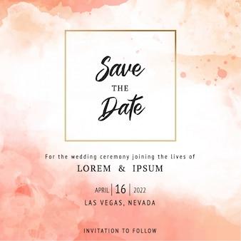 Modello della carta dell'invito di nozze della pesca con bello floreale