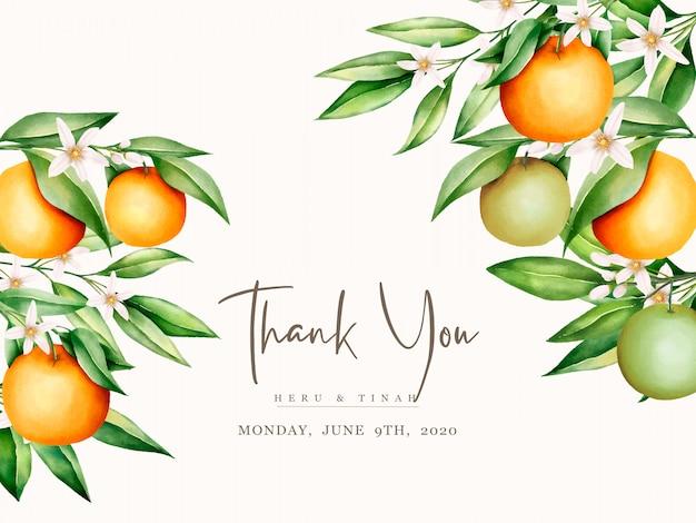 Modello della carta dell'invito di nozze di frutti arancio dell'acquerello botanico