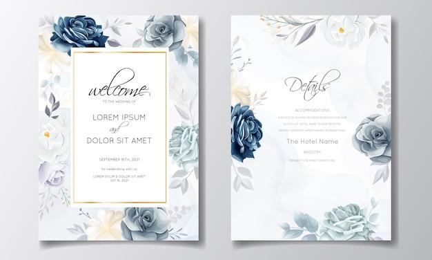 Modello della carta dell'invito di nozze floreale dei blu navy con le foglie e l'acquerello dorati