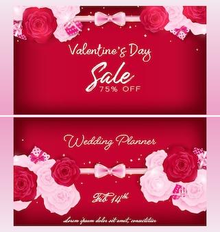 Modello della carta dell'invito di san valentino come concezione di nozze