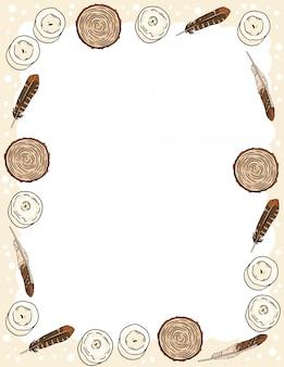 Modello della cartolina con le candele, le piume e gli scarabocchi di stile comico delle sezioni del taglio di legno.