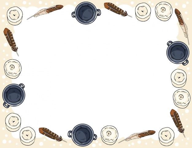 Modello della cartolina con scarabocchi di stile comico di candele, piume e calderoni