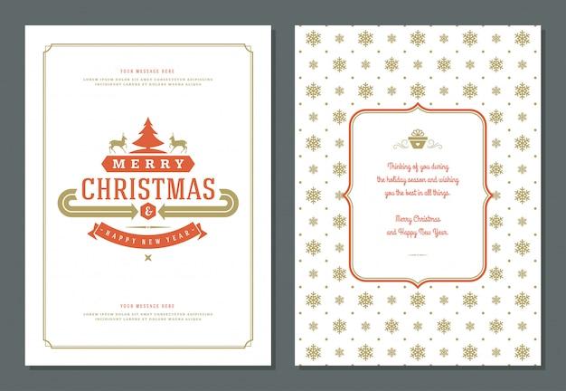Modello della cartolina d'auguri di natale con l'illustrazione dell'etichetta della decorazione.