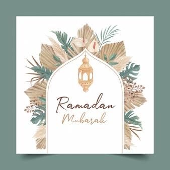 Modello della cartolina d'auguri di ramadan mubarak con l'erba di pampa dell'acquerello e l'illustrazione delle foglie secche