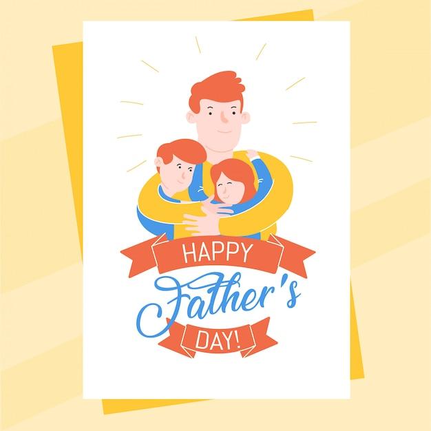 Modello della cartolina di festa del papà con il padre che abbraccia il suo figlio e sua figlia