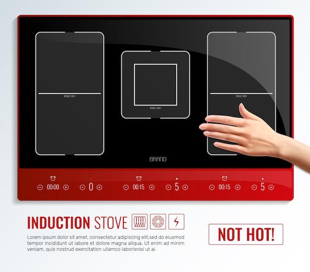 Modello della mano della superficie del piano cottura a induzione