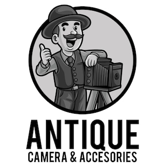 Modello della mascotte del logo del negozio di fotocamere