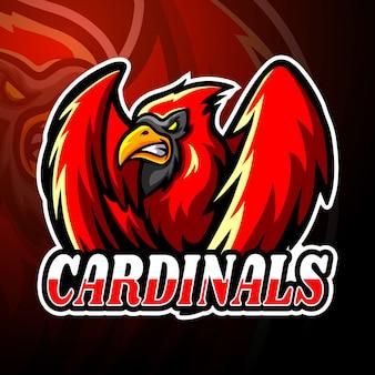 Modello della mascotte del logo esport cardinali
