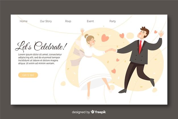 Modello della pagina di atterraggio di nozze con le coppie illustrate