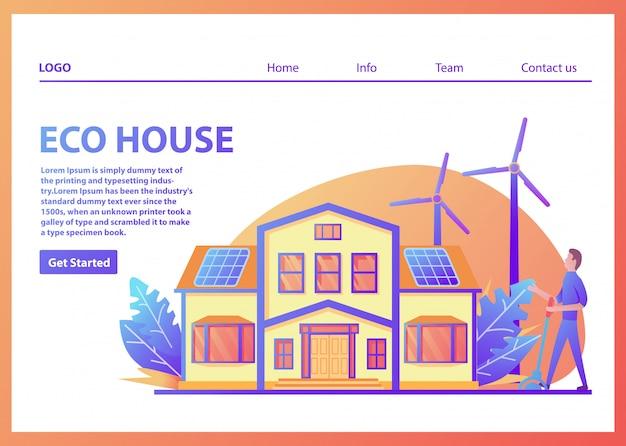 Modello della pagina di destinazione. casa americana suburbana ecologica a energia verde. pannello solare, turbina eolica. facciata familiare.