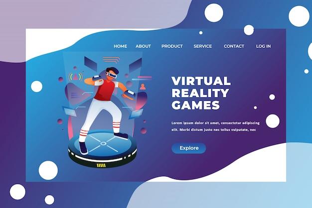 Modello della pagina di destinazione dei giochi di realtà virtuale