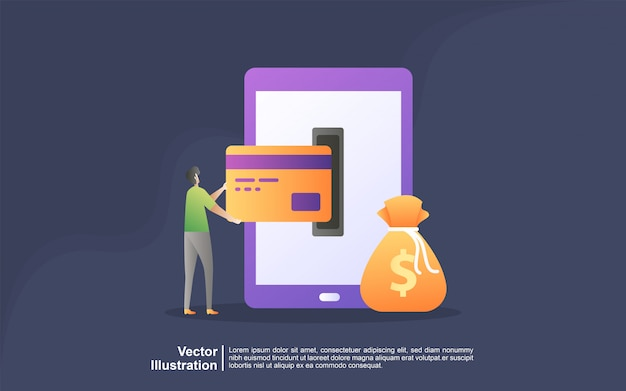 Modello della pagina di destinazione del concetto di design piatto moderno bancario online.