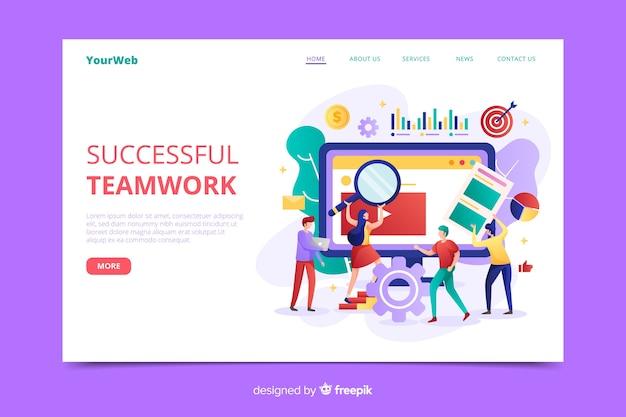 Modello della pagina di destinazione del lavoro di squadra di affari