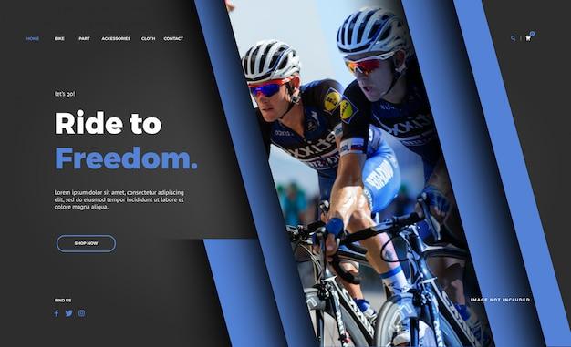 Modello della pagina di destinazione del negozio di biciclette