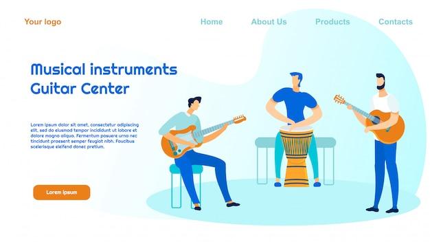 Modello della pagina di destinazione del negozio di strumenti musicali