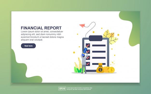 Modello della pagina di destinazione del rapporto finanziario