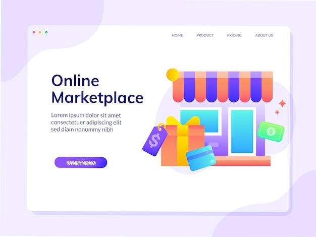 Modello della pagina di destinazione del sito web con gradiente del mercato online