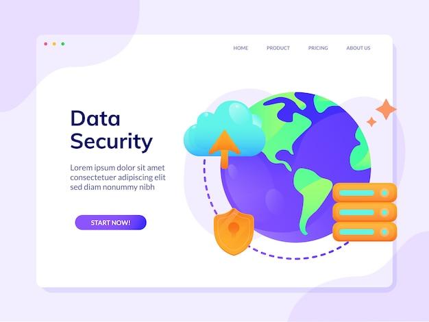 Modello della pagina di destinazione del sito web di sicurezza dei dati