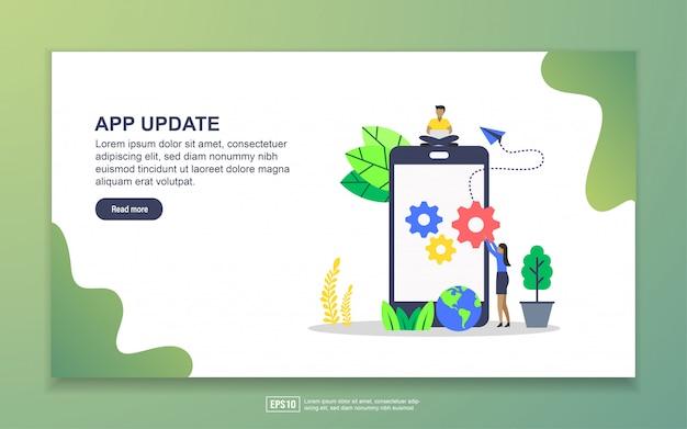 Modello della pagina di destinazione dell'aggiornamento dell'app. concetto di design moderno piatto di design della pagina web per sito web e sito web mobile