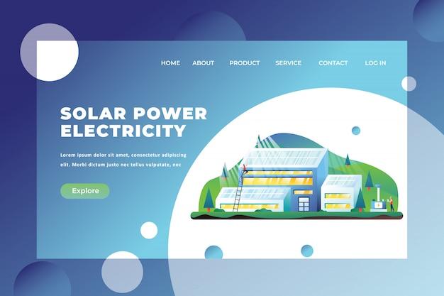 Modello della pagina di destinazione dell'elettricità ad energia solare