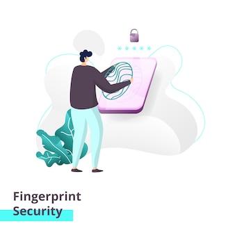 Modello della pagina di destinazione della sicurezza delle impronte digitali