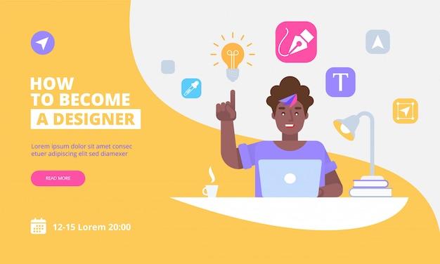 Modello della pagina di destinazione di graphic designer