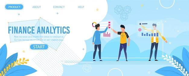 Modello della pagina di destinazione di progettazione di analytics di finanza