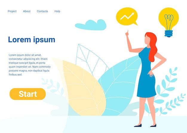 Modello della pagina di destinazione di vettore di gestione del progetto