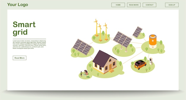Modello della pagina web di energia di eco con l'illustrazione isometrica