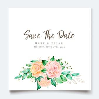 Modello della partecipazione di nozze con la bella corona floreale dell'acquerello